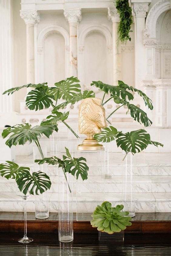 floating palm leaf centerpieces for a gorgeous modern wedding
