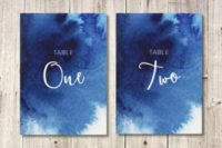 11 watercolor indigo wedding table numbers with white letters