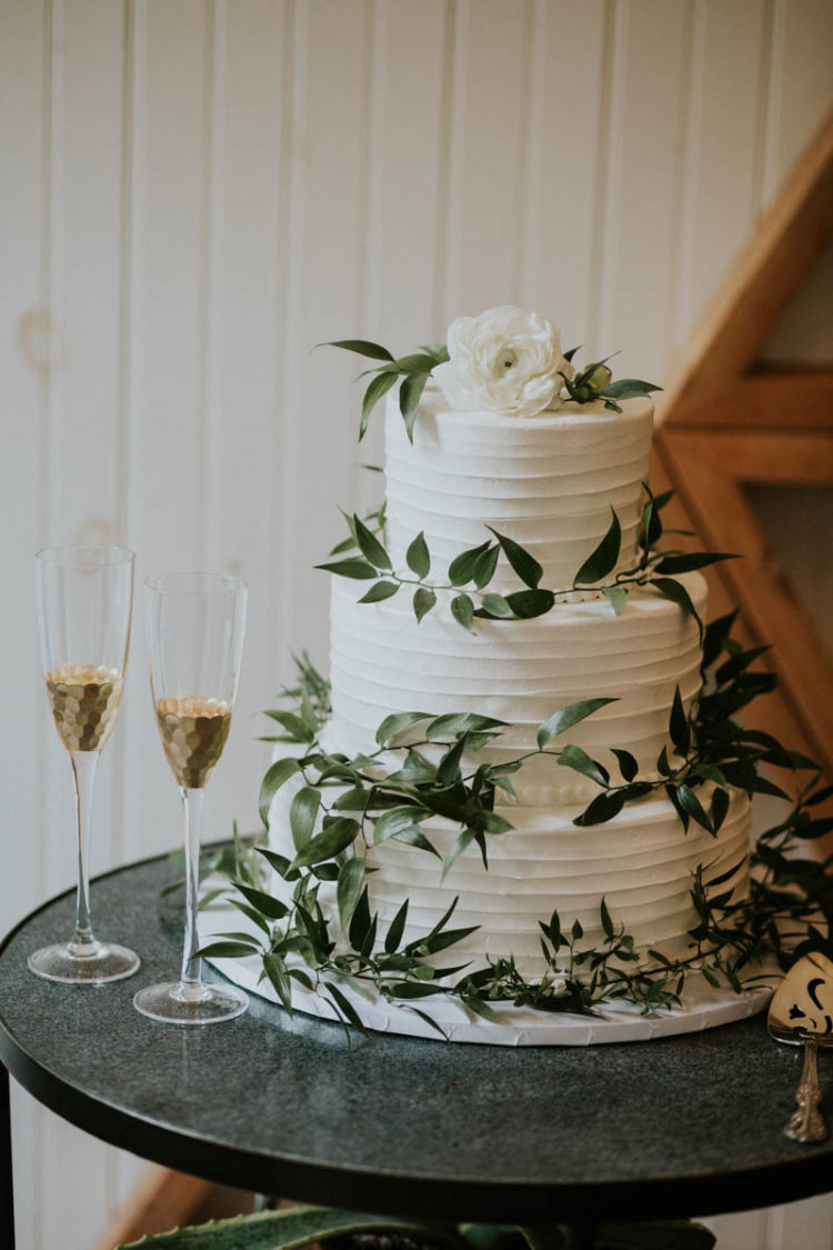 The wedding cake was a textural one, with fresh greenery