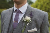 Picture Of a grey lavender wedding dress with a plunging neckline ...