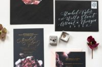 12 black wedding stationery with dark burgundy and plum realistic floral touches and gold calligraphy