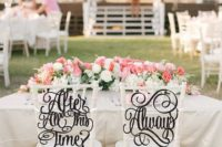 12 calligraphy wedding chair signs for a Harry Potter wedding