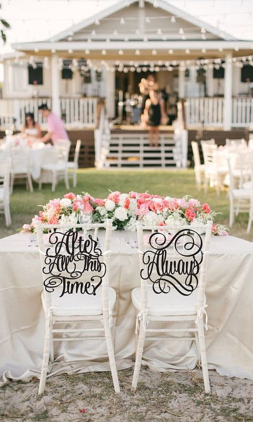 calligraphy wedding chair signs for a Harry Potter wedding