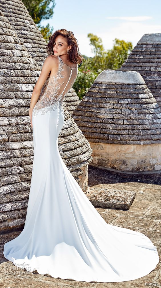 plain mermaid wedding dress with a silver lace illlusion back on a button row