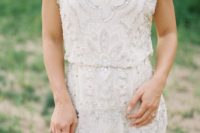 13 a beautiful scoop neckline wedding dress with beading, rhinestones and embroidery, without sleeves