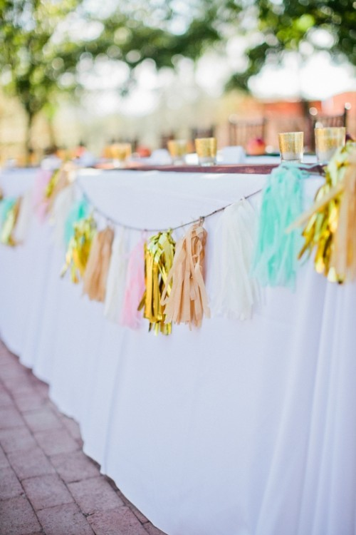 a colorful alrge tassel garland for accentuating different bars and stations