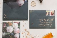 13 black wedding stationery with realistic pink floral lining and gold calligraphy