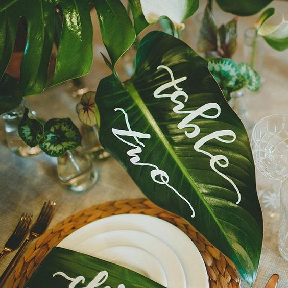 hand lettered tropical leaf table number and place cards for a tropical wedding
