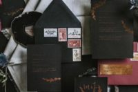 14 black , burgundy and copper wedidng invites with calligraphy