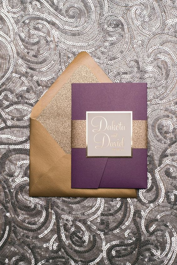 stylish gold and purple wedding invitations with glitter touches