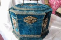 14 vintage blue velvet Victorian-style jewelry box