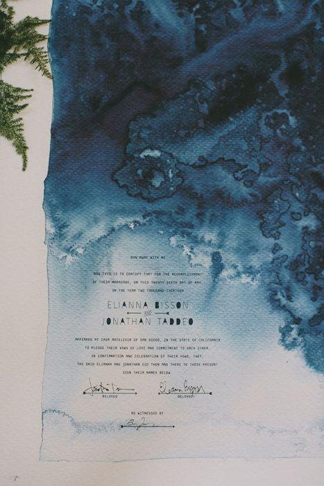 Aquarell indigo und weiß Hochzeit Briefpapier, das erinnert an das Meer