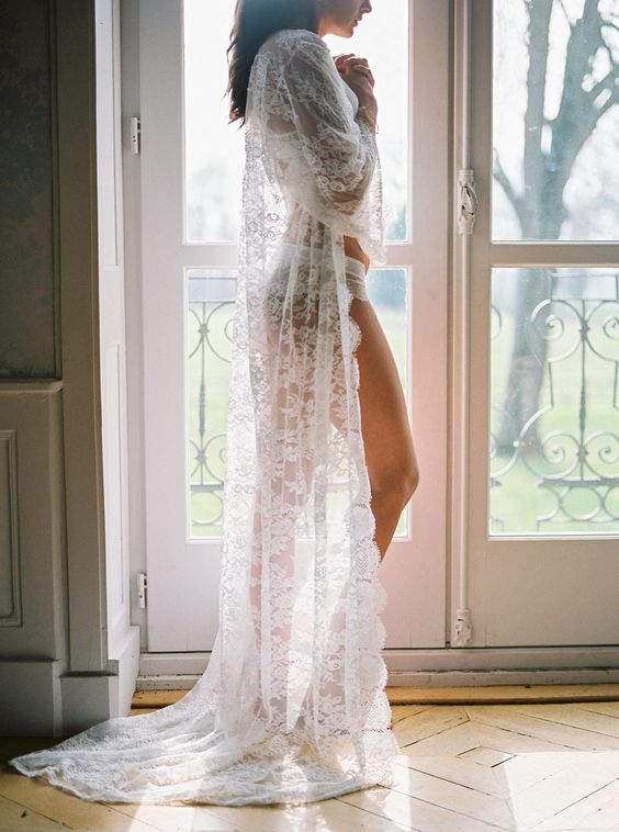 a long chantilly lace robe will be a gorgeous and sexy gift for her on her big day
