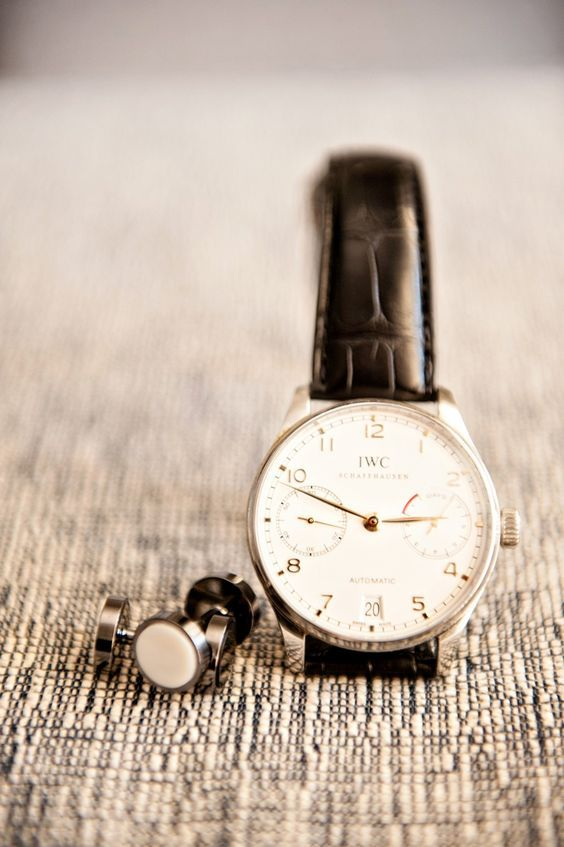 give him both - a gorgeous classic watch and stylish white cufflinks to look perfect