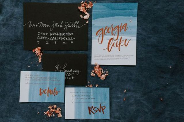 watercolor indigo wedding invites with copper letters and black envelopes