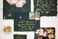 16 black wedding stationery with a raw edge, gold calligraphy and watercolor blooms