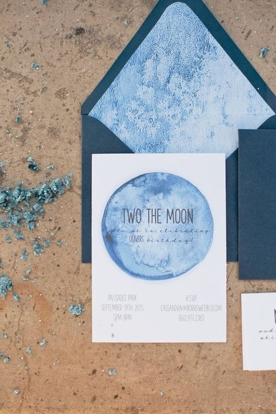 watercolor indigo wedding invites with dark blue envelopes