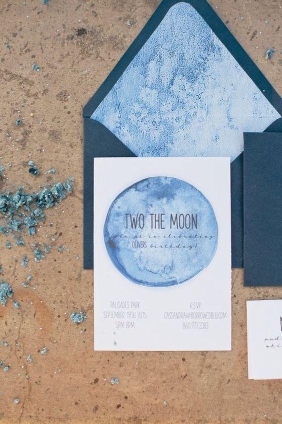 Aquarell indigo Hochzeit Einladungskarten mit Umschläge dunkelblau