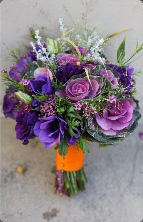 purple, lavender, mauve, and green bouquet with an orange stem wrap
