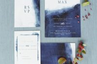 17 watercolor indigo and white wedding invitations with blue letters