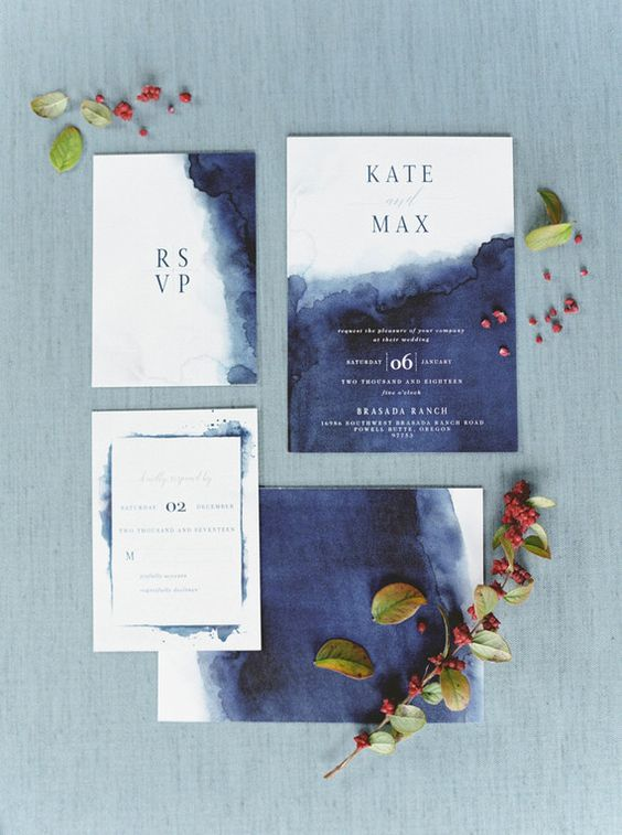 watercolor indigo and white wedding invitations with blue letters