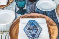 rustic indigo wedding table decor