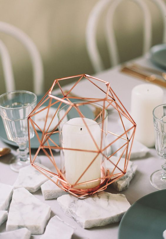 a geometric copper candle holder for a bold modern table setting