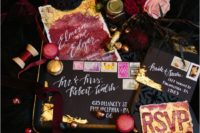 19 black, gold and burgundy wedding stationery with watercolor wedding touches for a lush decadent wedding