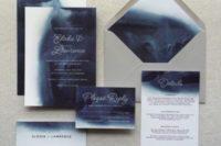 19 watercolor navy indigo wedding invitations and a grey envelope