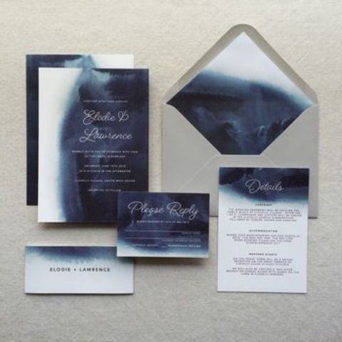watercolor navy indigo wedding invitations and a grey envelope