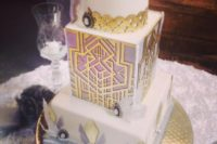 20 a chic cake with lilac and gold geo decor, scallops, vintage brooches