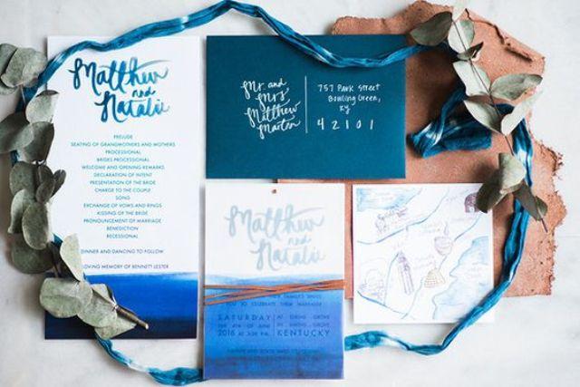 ein teal-Umschlag, Aquarell indigo Hochzeit lädt