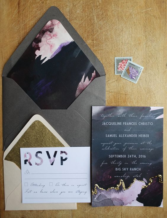 grey envelopes and unique wedding invites with a geode wedding touch in pink, purple and grey