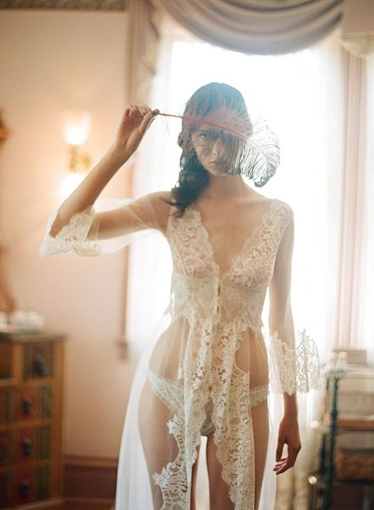 tulle and lace wedding robe and matching panties will surprise and excite her