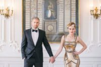 22 an authentic gold sheath wedding dress with wide straps and embroidery
