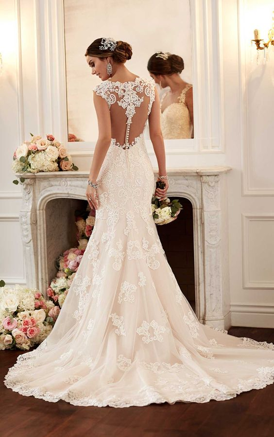 lace mermaid wedding dress with a lace illusion racerback on buttons