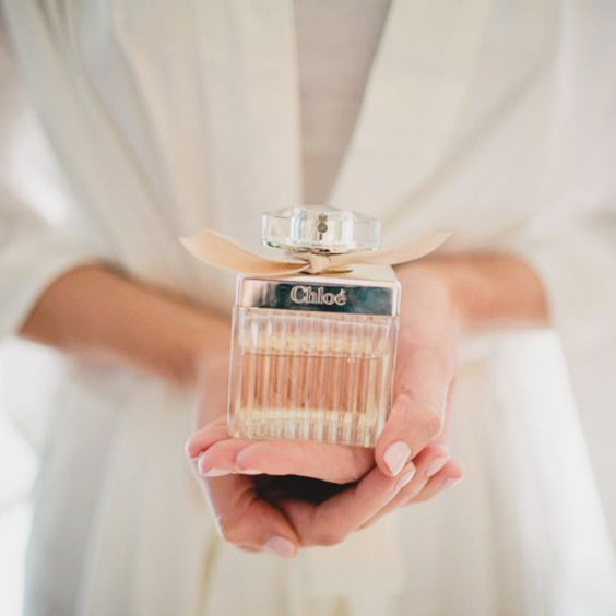 the bride with her favorite perfume by Chloe