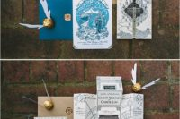 23 Harry potter themed invites with gold snitches
