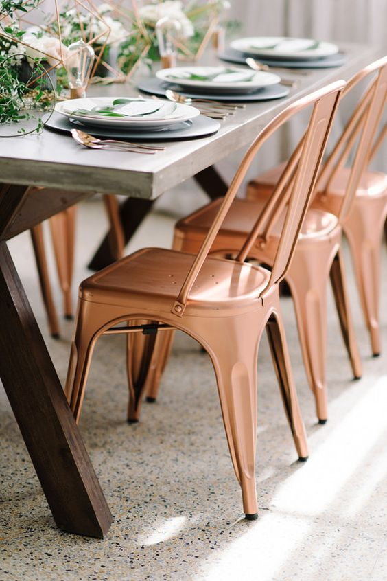 copper chairs for an industrial table setting and matching geo centerpieces