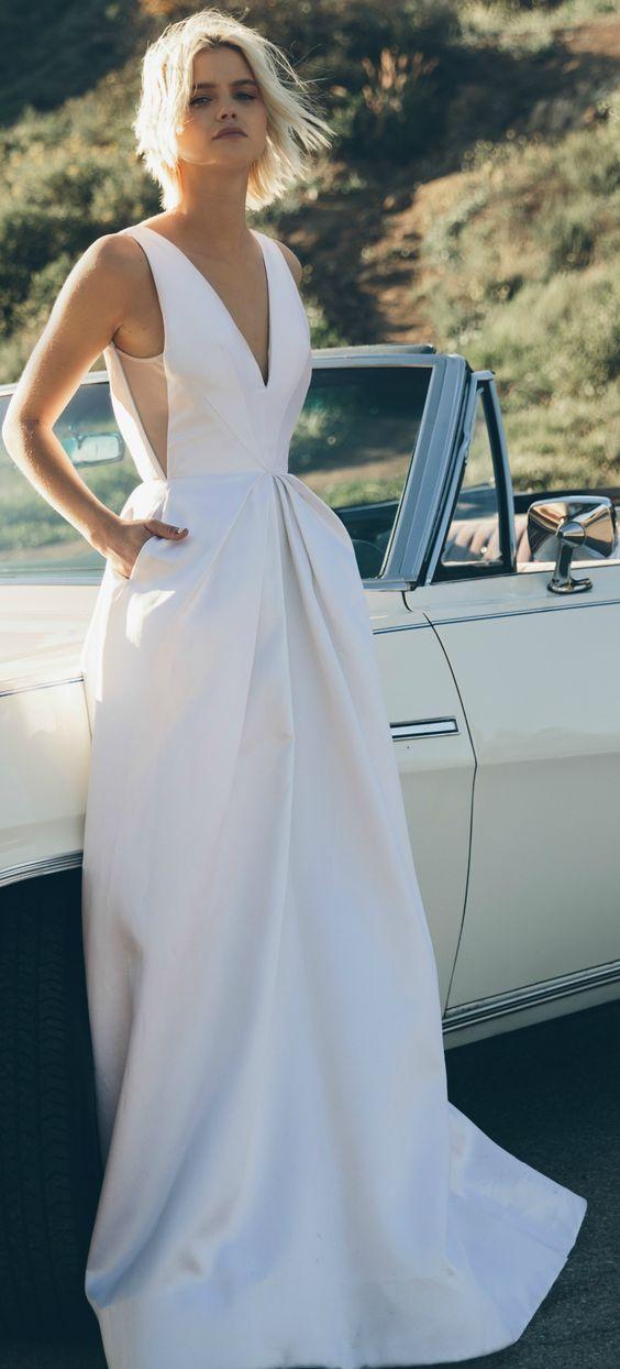 low back brautkleid mit Taschen aus couture-Seide mit hand-Plissee-panels