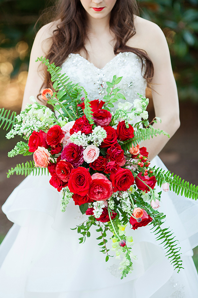 oversized textural red and blush roses wedding bouquet with fern