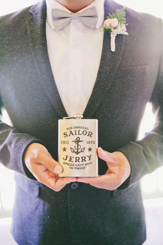 Sailor Jerry flask for a groom who loves rum