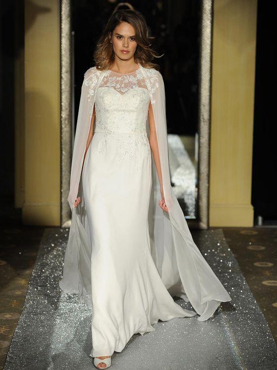 fit und Streulicht verziert Hochzeit Kleid mit einer illusion Ausschnitt und einem passenden cape