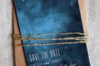 24 indigo sky-inspired save the date with stars and a copper envelope