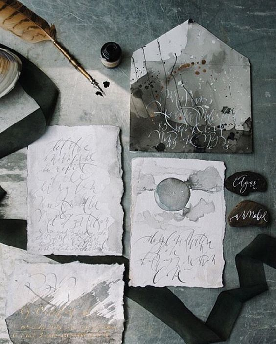 moody grey and beige watercolor wedding invites with calligraphy
