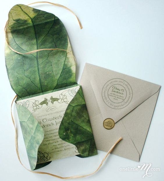 LOTR themed wedding invitations in a real leaf printed envelope   looks so wow