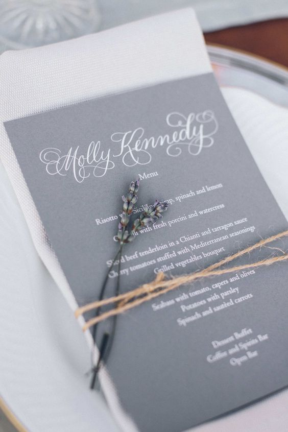 grey and lavender wedding menu with twine
