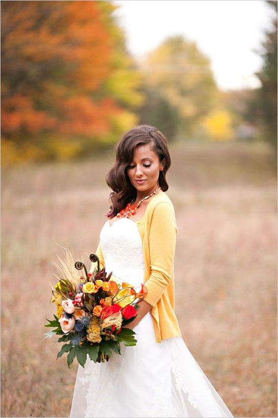 a yellow cardigan for a comfy and casual look, a bouquet with matching blooms