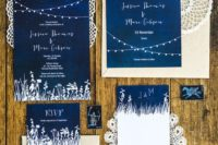 27 indigo wedding invites with white touches and white letters