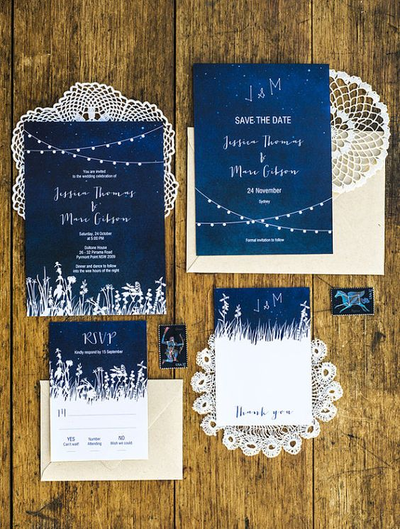indigo wedding invites with white touches and white letters